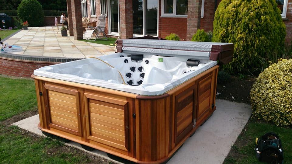 Empty Hot tub in the backyard