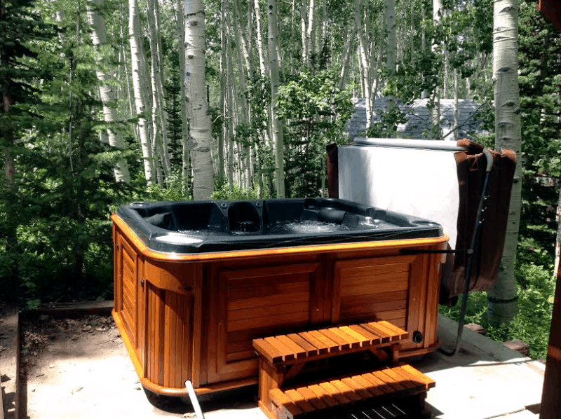 Arctic Spas Hot tub in the backyard in a forest
