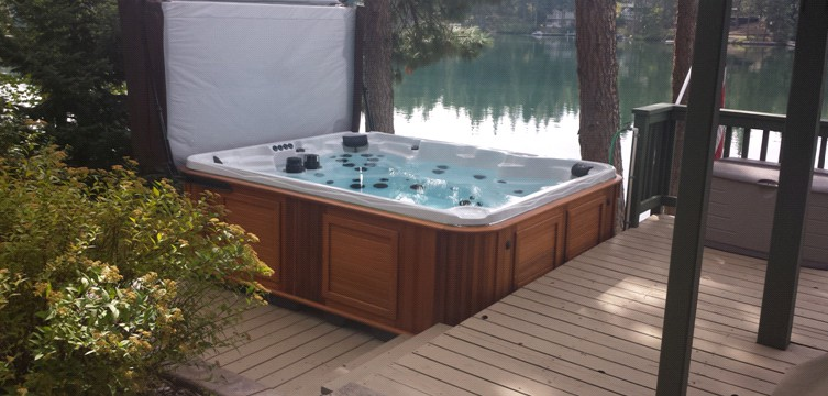 Arctic Spas Summit XL Hot tub on a deck by the spokane river